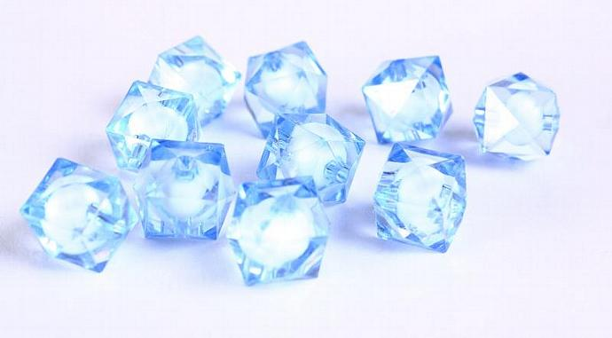 10pcs blue miracle beads resin lucite acrylic faceted cube beads 12mm (445)