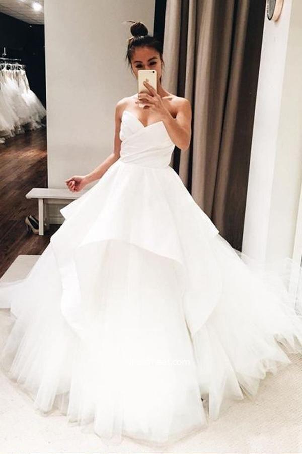 Elegant Tulle White Tulle Ball Gown Wedding Dresses Bridal Gown H5463