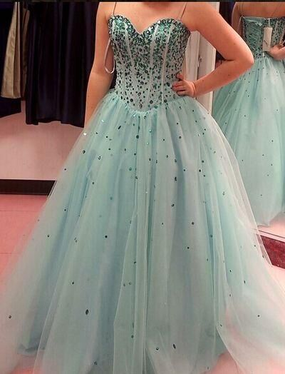 Spaghetti Sleeveless Tulle Sweet 16 Prom Dresses H5467