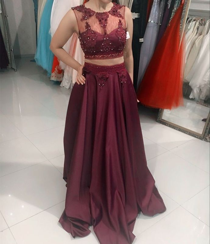 Elegant Burgundy Two Piece Prom Dresses with Appliques H5475