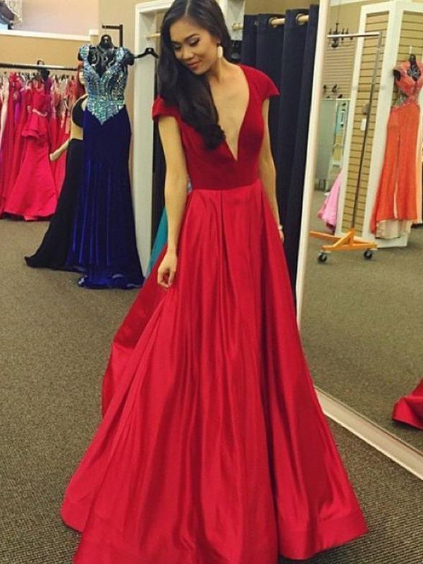 Fashion Red Satin Prom Dresses Formal Evening Gonws H5479
