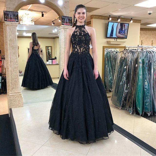 Elegant Black Sleeveless Tulle Prom Dresses Appliques Evening Gown H5484