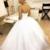 Spaghetti Tulle Appliques White Ball Gown Wedding Dresses H5486