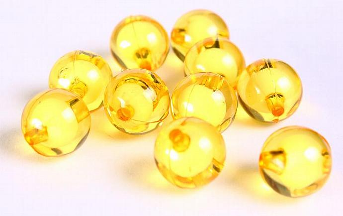 10pc gold golden yellow miracle beads resin lucite acrylic round beads 12mm