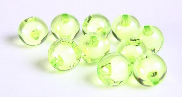 10pc green miracle beads resin lucite acrylic round beads Bead in Bead Style
