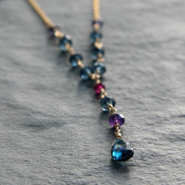 Blue Topaz Drop with Gemstones and Gold Necklace