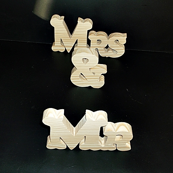 Mr & Mrs Stand Alone Wood Letters Unfinished Style 2 Stk No. M-2-.75-4-LC-SA