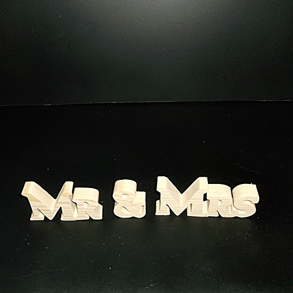 Mr & Mrs Stand Alone Wood Letters Unfinished Style 1 Stk No. M-1-.75-2-LC-SA