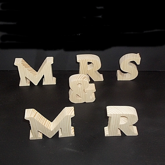 MR & MRS  Stand Alone Wood Letters Unfinished Style 1 Stk No. M-1-.75-3-SA