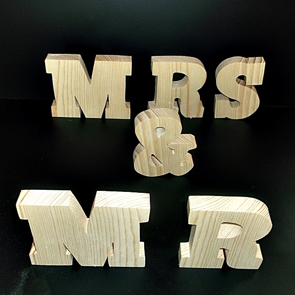 MR & MRS Stand Alone Wood Letters Unfinished Style 6 Stk No. M-6-.75-4-SA