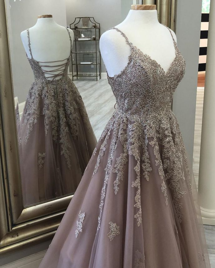Charming Prom Dress,Tulle Prom Gown,Backless Evening Dress,Appliques Prom Gown