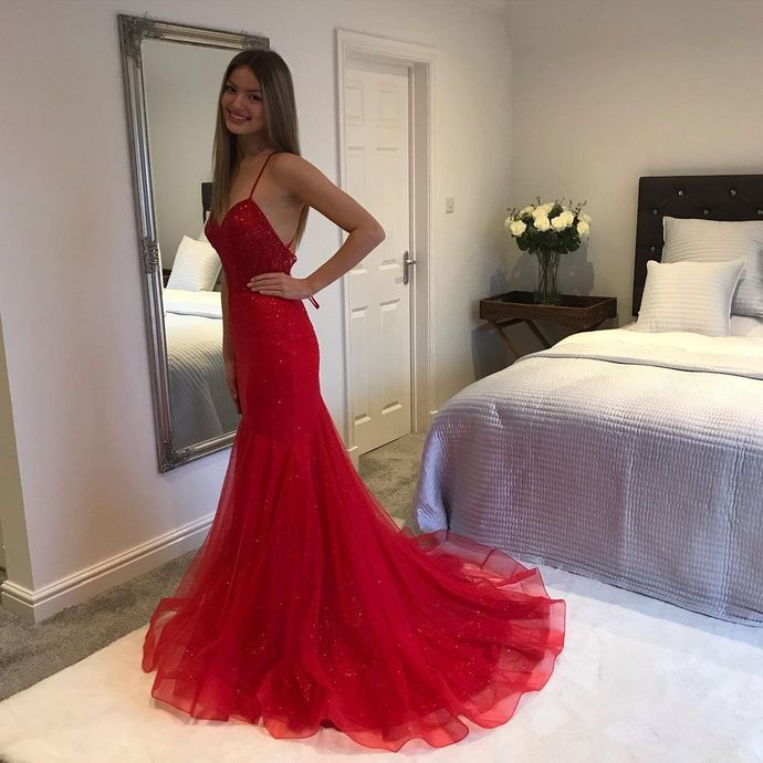 Red Prom Dress,Tulle Prom Gown,Spaghetti Straps Evening Dress,Mermaid Prom Gown