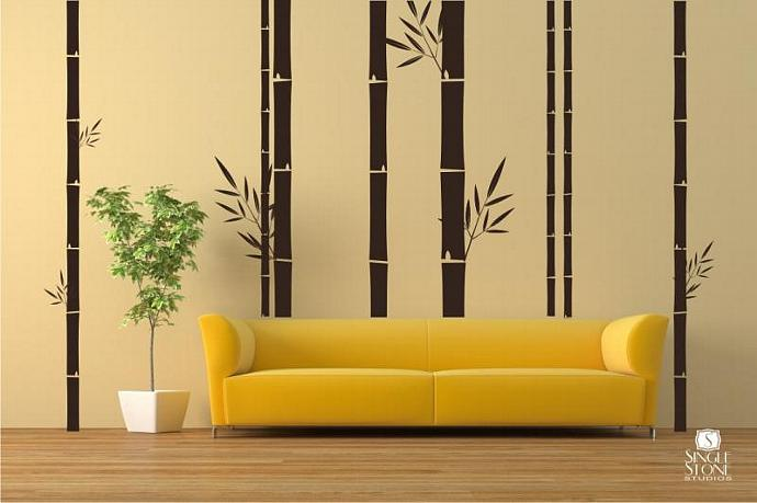 Bamboo Wall Mural - Vinyl Wall Decals by singlestonestudios on Zibbet