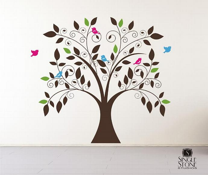 Whimsical Tree Vinyl Wall Decal Art By