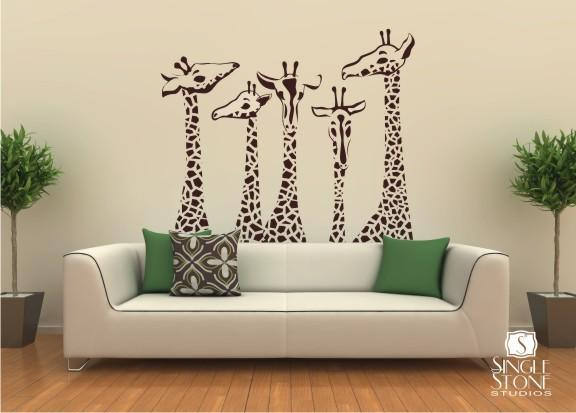 Giraffe Family - Vinyl Wall Decal Art