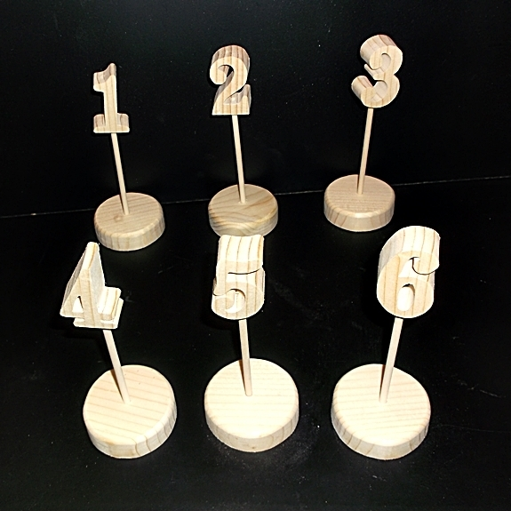 Wedding Table Numbers 1-20 Unfinished Wood Style 1 on Round Base Stk No
