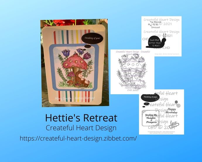 Hettie's Retreat, outlined image, hand drawn