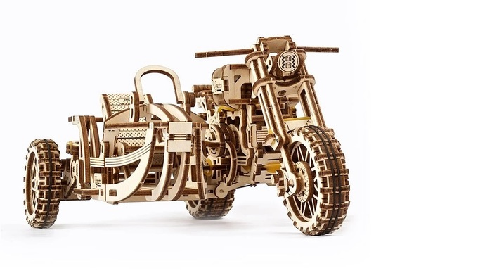 Mechanical model Motorcycle Scrambler UGR-10 with sidecar