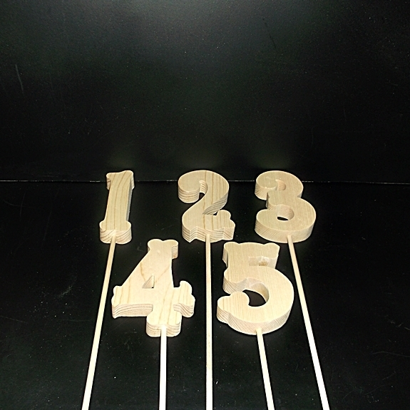 Table Numbers 1-20 Unfinished Wood Style 2 on a Dowel Stk No TN-2-.75-4-20-D