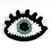 Crochet eye brooch with Swarovski crystals - Sage green
