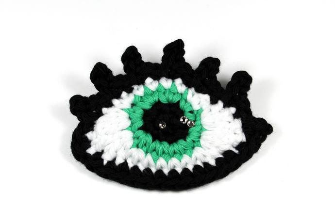 Crochet eye brooch with Swarovski crystals - Opal green