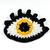 Crochet eye brooch with Swarovski crystals - Yellow