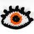 Crochet eye brooch with Swarovski crystals - Orange