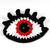Crochet eye brooch with Swarovski crystals - Red