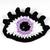 Crochet eye brooch with Swarovski crystals - Lilac