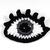 Crochet eye brooch with Swarovski crystals - Dark grey