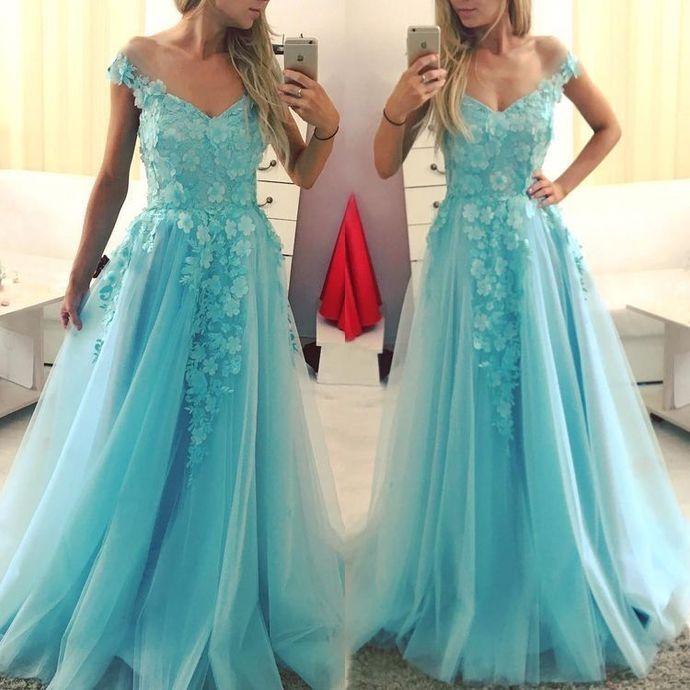 Elegant V neck Long Tulle A Line Prom Dresses H5492
