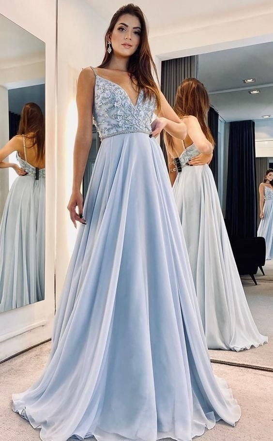 Charming V neck Blue Long Chiffon Evening Prom Dresses H5495