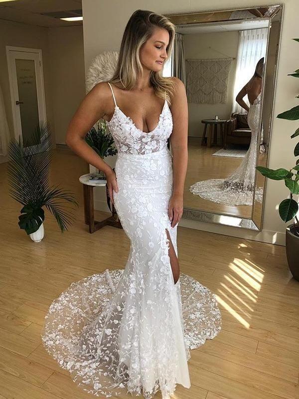 Spaghetti Straps V neck White Lace Mermaid Wedding Dresses H5498