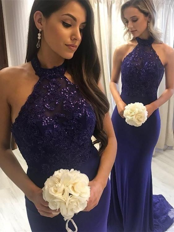 Charming Halter Sleeveless Mermaid Bridesmaid Dresses Long Wedding Party Gown