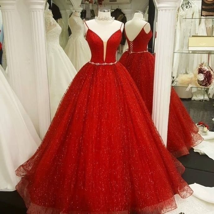 Elegant Red Sequin Tulle Quinceanera Dresses Ball Gown H5504