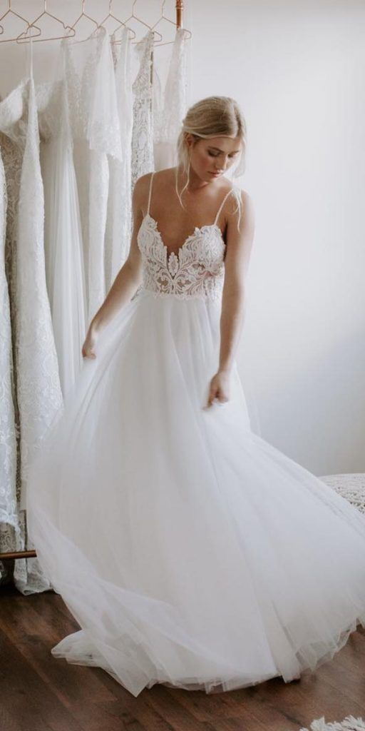 Sexy Spaghetti Appliques Tulle Long Wedding Dresses H5507