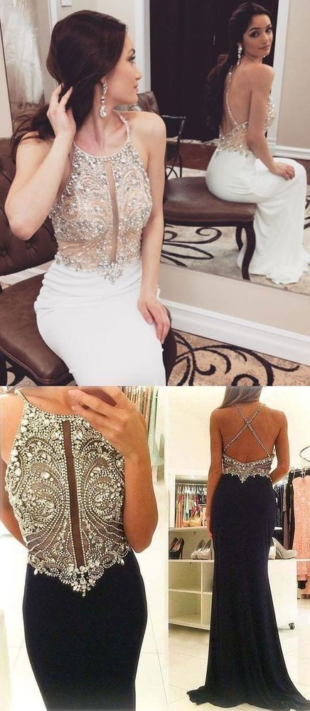 Sexy Sleeveless Open Back Mermaid Prom Dresses Evening Gown H5508