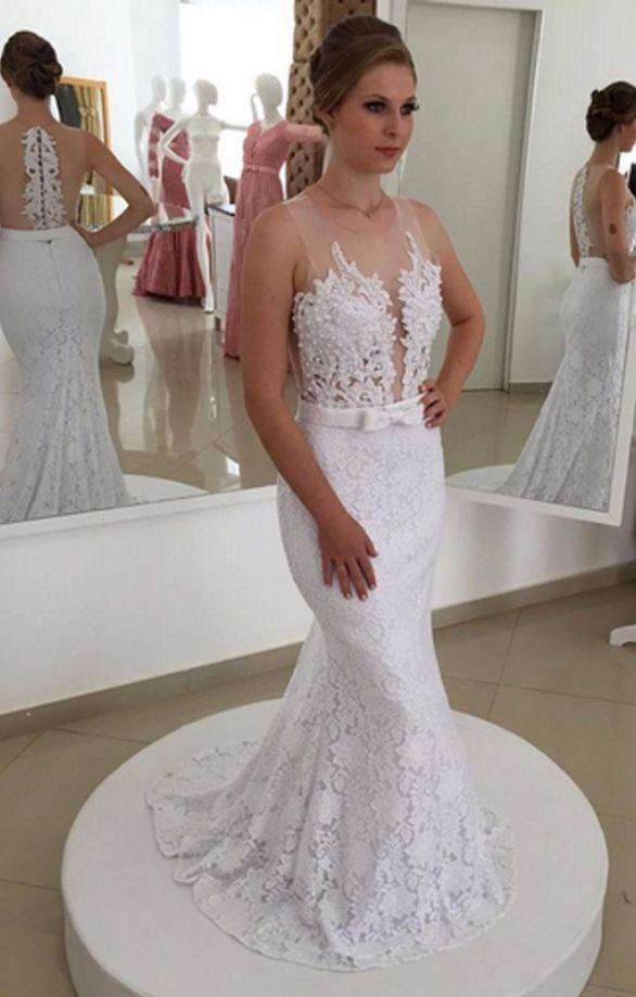 Charming Lace Mermaid Wedding Dresses Bridal Gown H5509