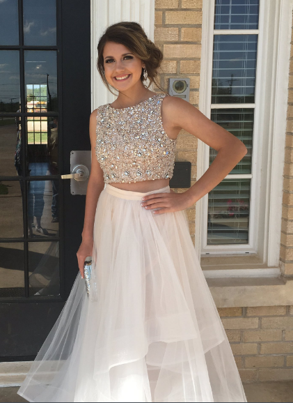 Elegant Beads Tulle Two Piece Prom Dresses H5513