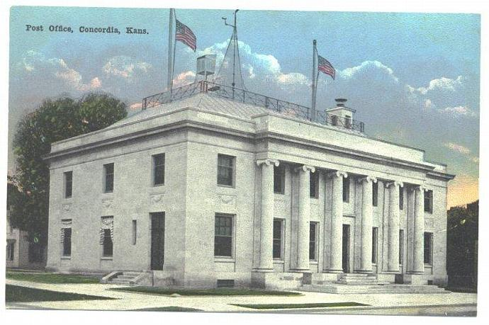 Concordia Kansas Postcard Vintage 1910s Post Office View