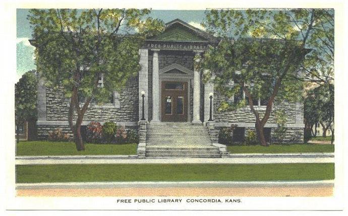 1910's Postcard Free Public Library Concordia Kansas Town View