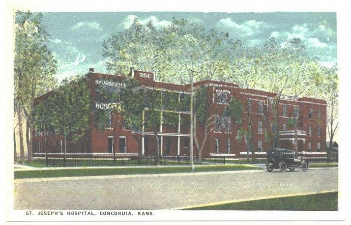 1910s Antique Vintage Postcard St. Josephs Hospital Concordia Kansas