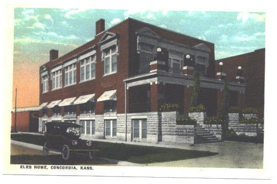 Antique Postcard Elks Home Vintage 1910s Concordia Kansas View