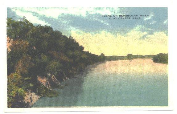 Vintage 1910s Postcard Republican River Clay Center Kansas Antique View