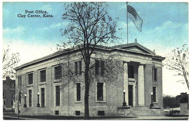 Antique Postcard Post Office Clay Center Kansas 1910s View