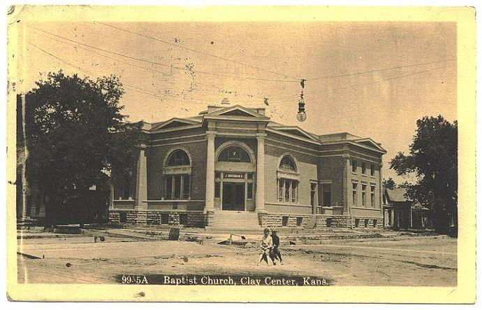 Clay Center Kansas Vintage Postcard 1910s RPPC Baptist Church View