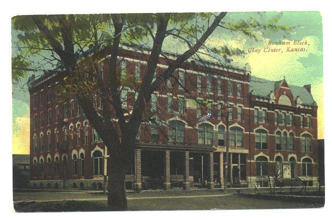 Clay Center Kansas Vintage 1910s Postcard Bonham Block Store Front