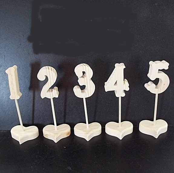 Wedding Table Numbers 1-20 Unfinished Wood Style 2 on Heart Base Stk No