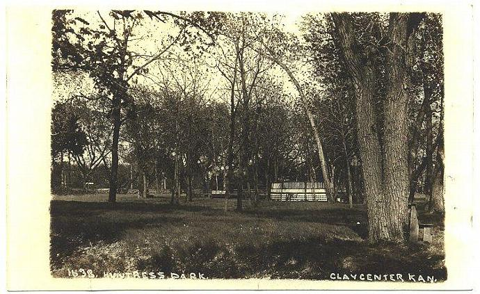 Huntress Park Clay Center Kansas Vintage 1910s RPPC  Real Photo Postcard