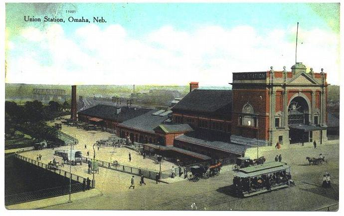 Town View Postcard Union Train Station Vintage 1910s Omaha Nebraska